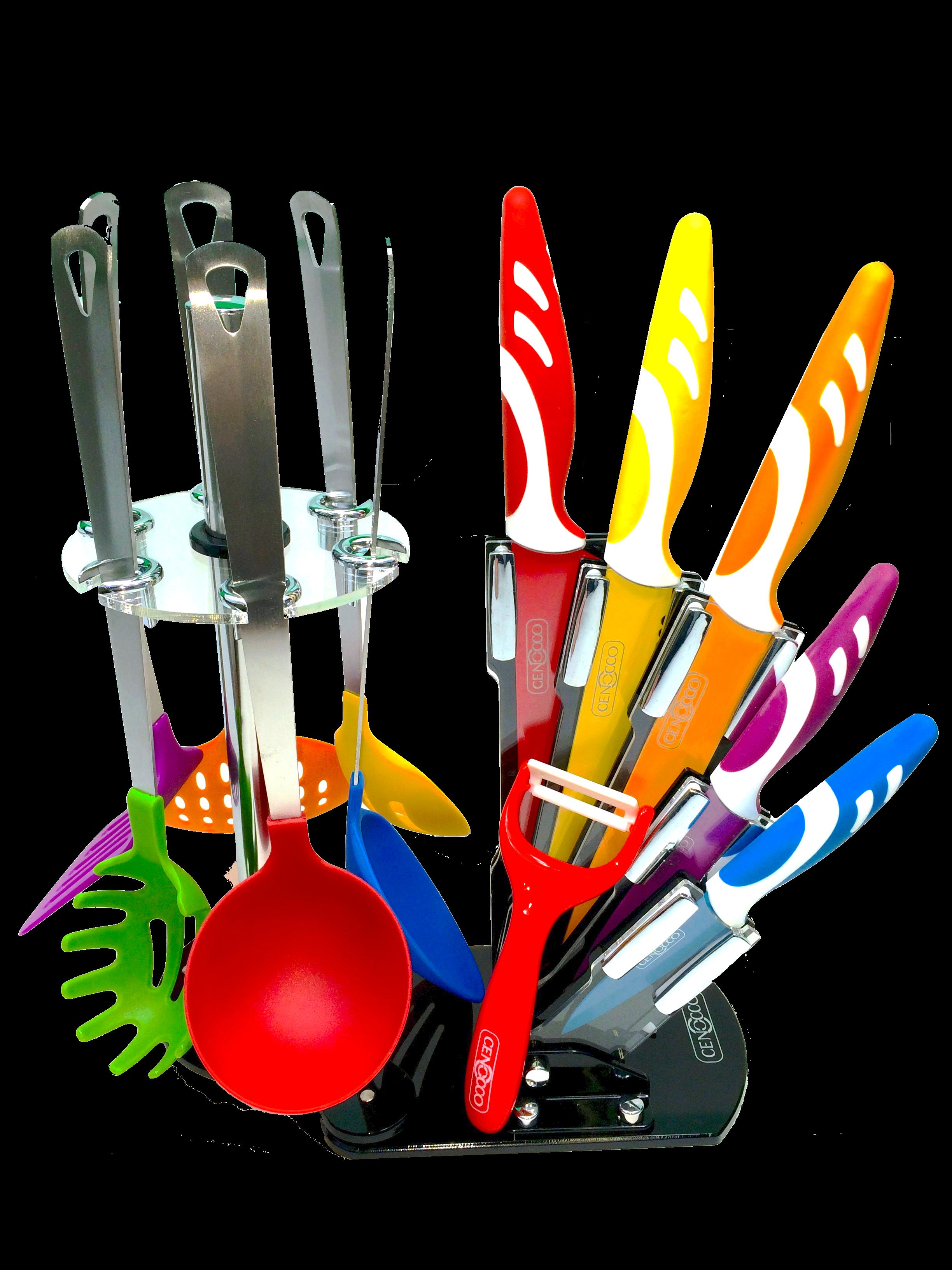 Cenocco cc kt12 set 12 pcs couteaux et accessoires avec for Support couteaux cuisine