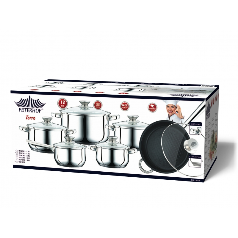 Peterhof ph 15799 batterie de cuisine en inox s s 12pcs for Batterie en inox