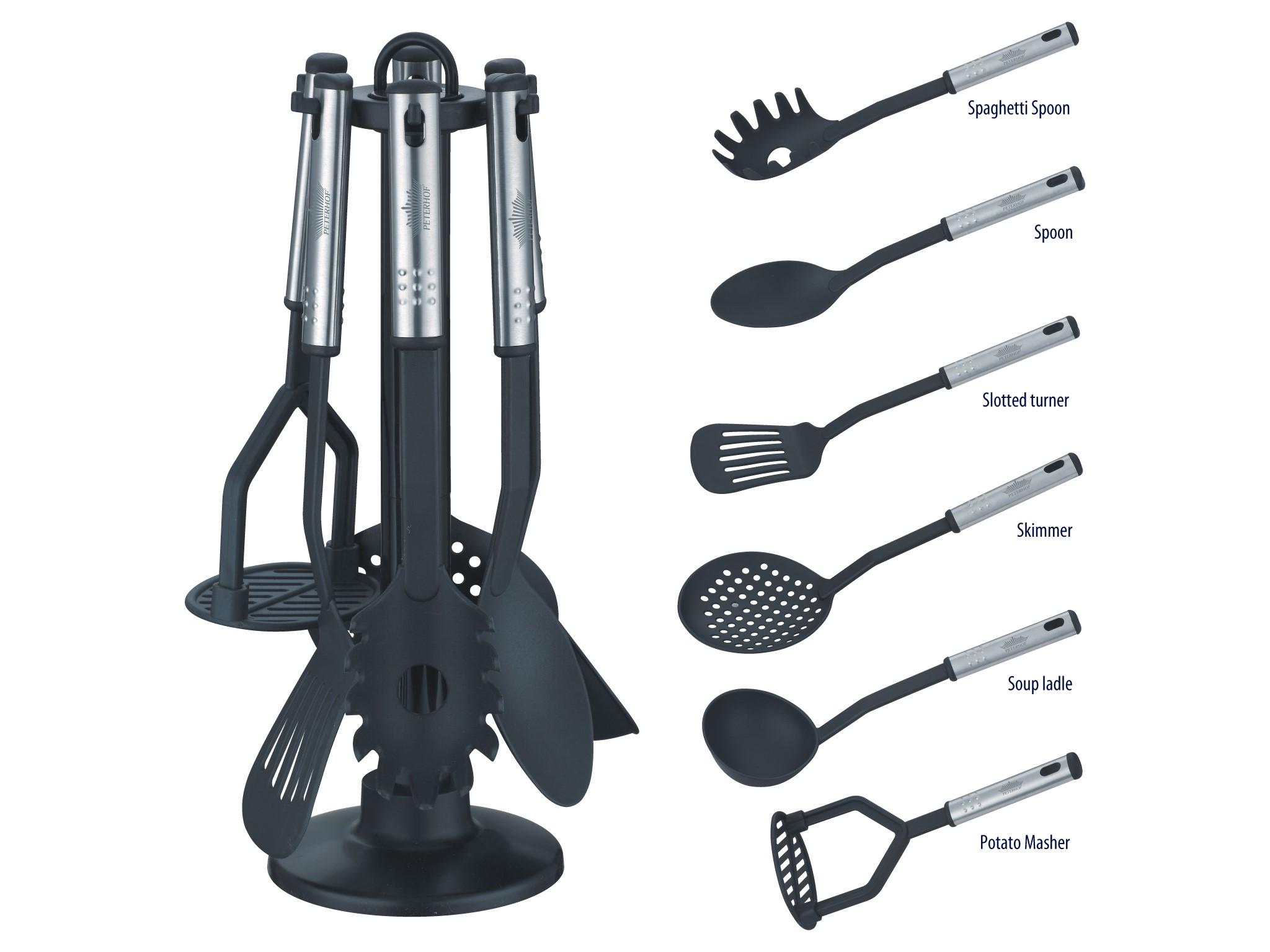 7 tlg Küchenhelfer Set mit Ständer Kochbesteck eBay