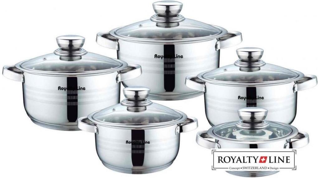 Royalty line rl 1003 batterie de cuisine en inox avec couvercles en verre 10pcs royalty line rl - Batterie de cuisine inox 18 10 ...