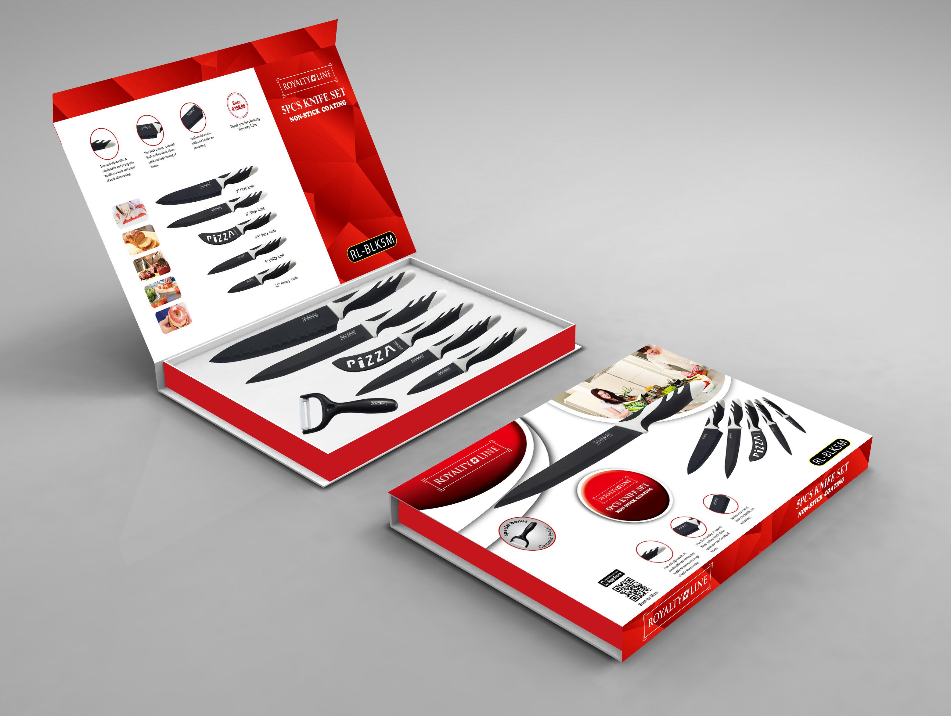 Royalty line rl blk5m set de couteaux 5 pi ces avec - Set de cuchillos royalty line ...