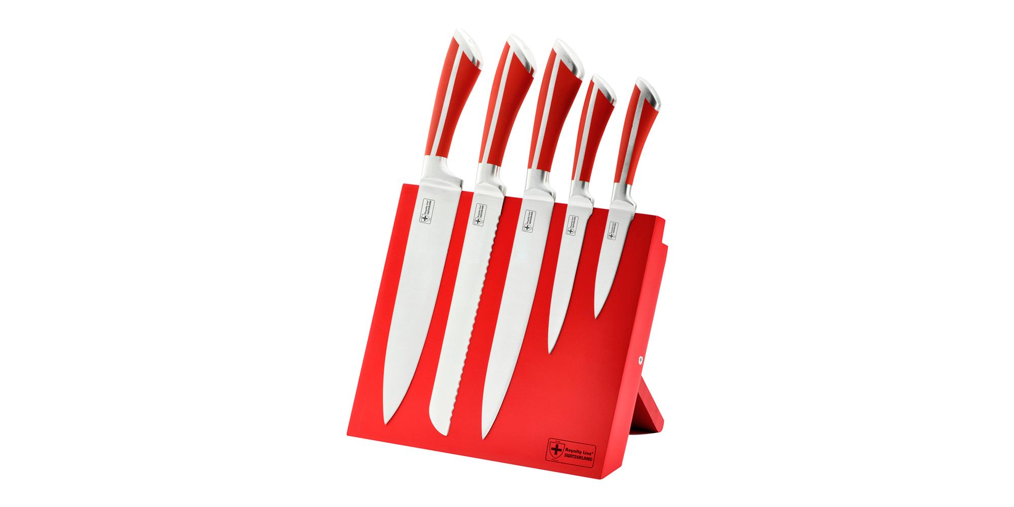 Royalty line rl mg5r set couteaux 5 pcs en acier for Support magnetique pour couteaux cuisine