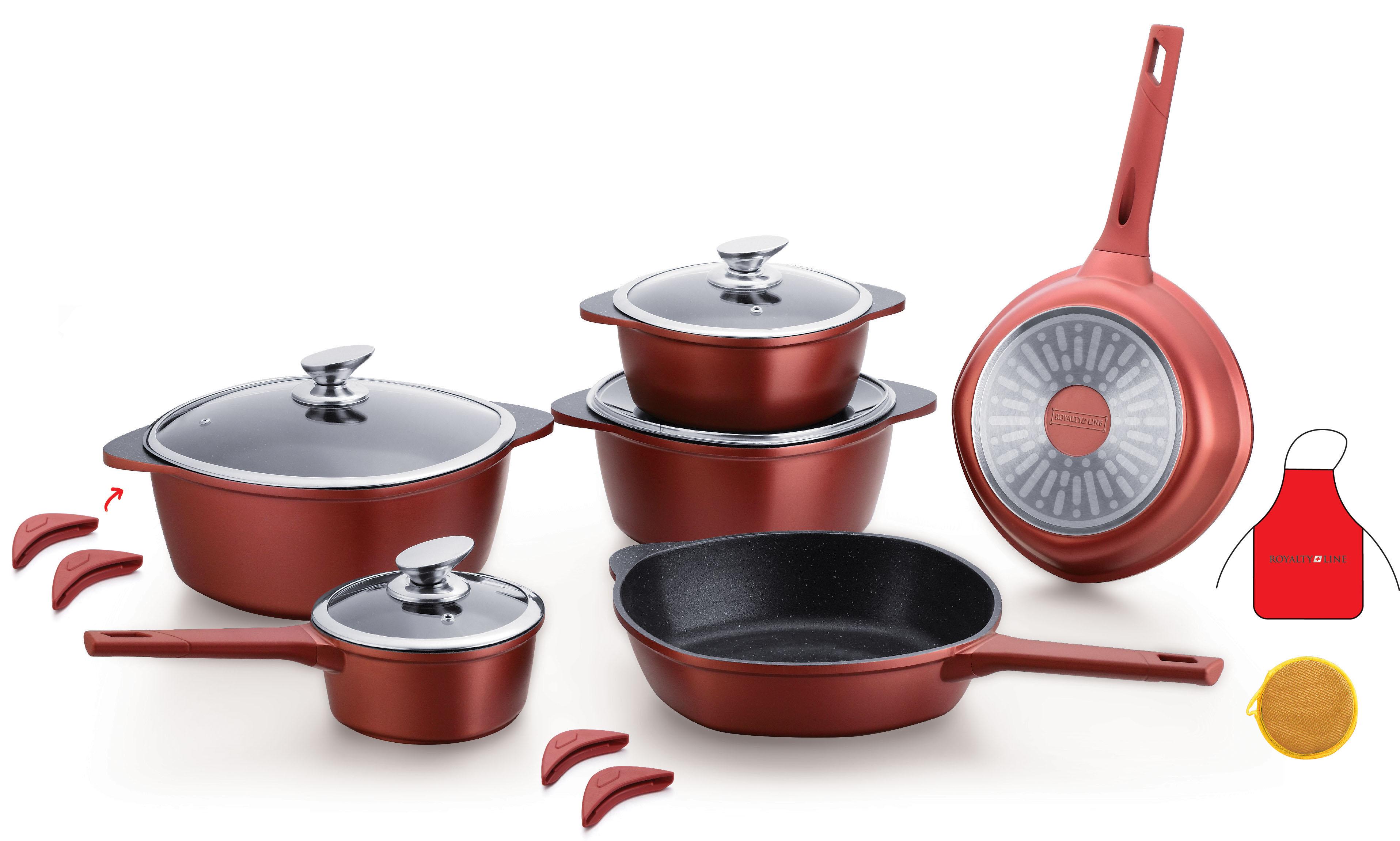 Royalty line rl es1014m 14 pcs marbre rev tement cookware set destockage for Ustensiles de cuisine belgique