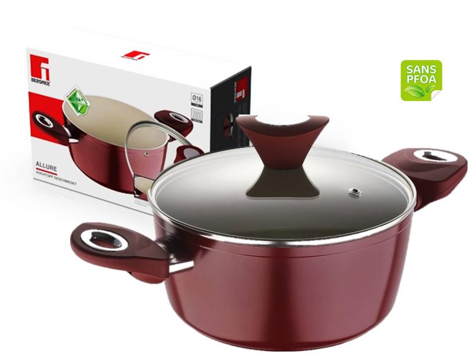 Bergner bg 6592 casserole avec couvercle en verre mat riau aluminium forg taille 20x9cm - Couvercle casserole en verre ...