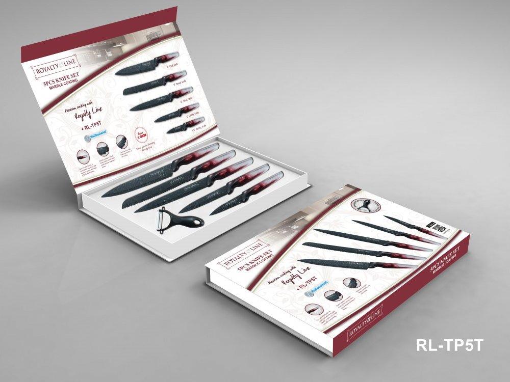 Royalty line rl tp5t ensemble de couteaux 5pcs avec rev tement en marbre royalty line rl tp5t - Ensemble couteaux de cuisine ...