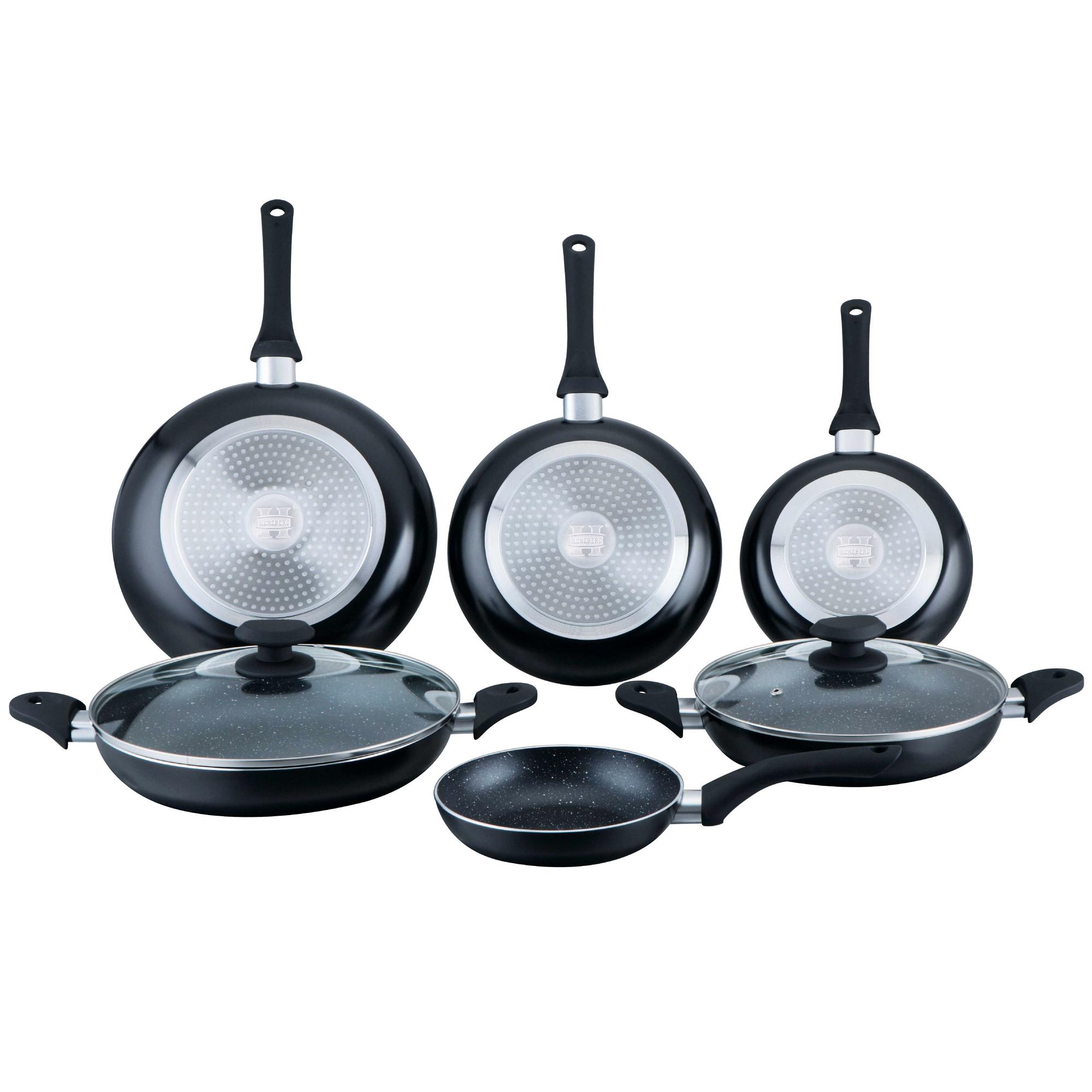 Herzberg HG-6010 : Batterie de cuisine enduite de marbre 8 pièces Noire