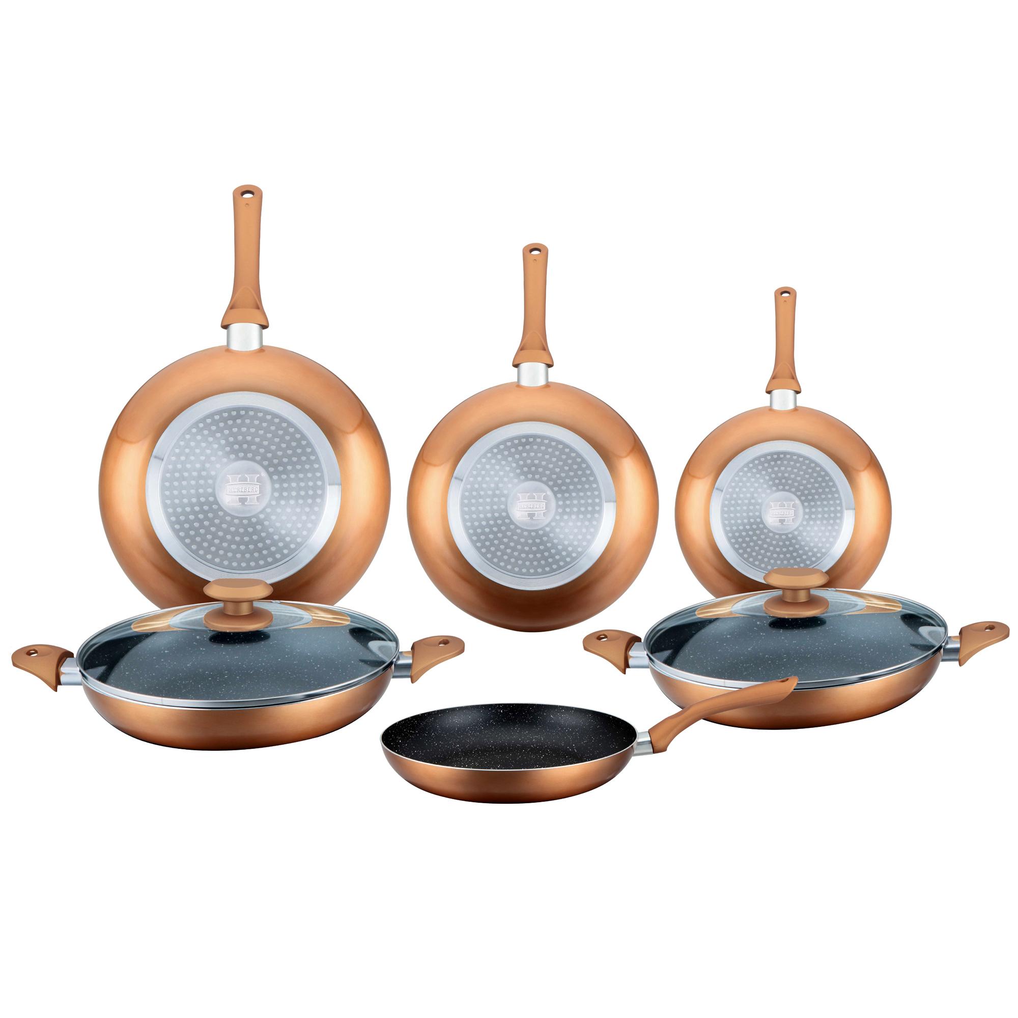 Herzberg HG-6010 : Batterie de cuisine enduite de marbre 8 pièces Cuivre