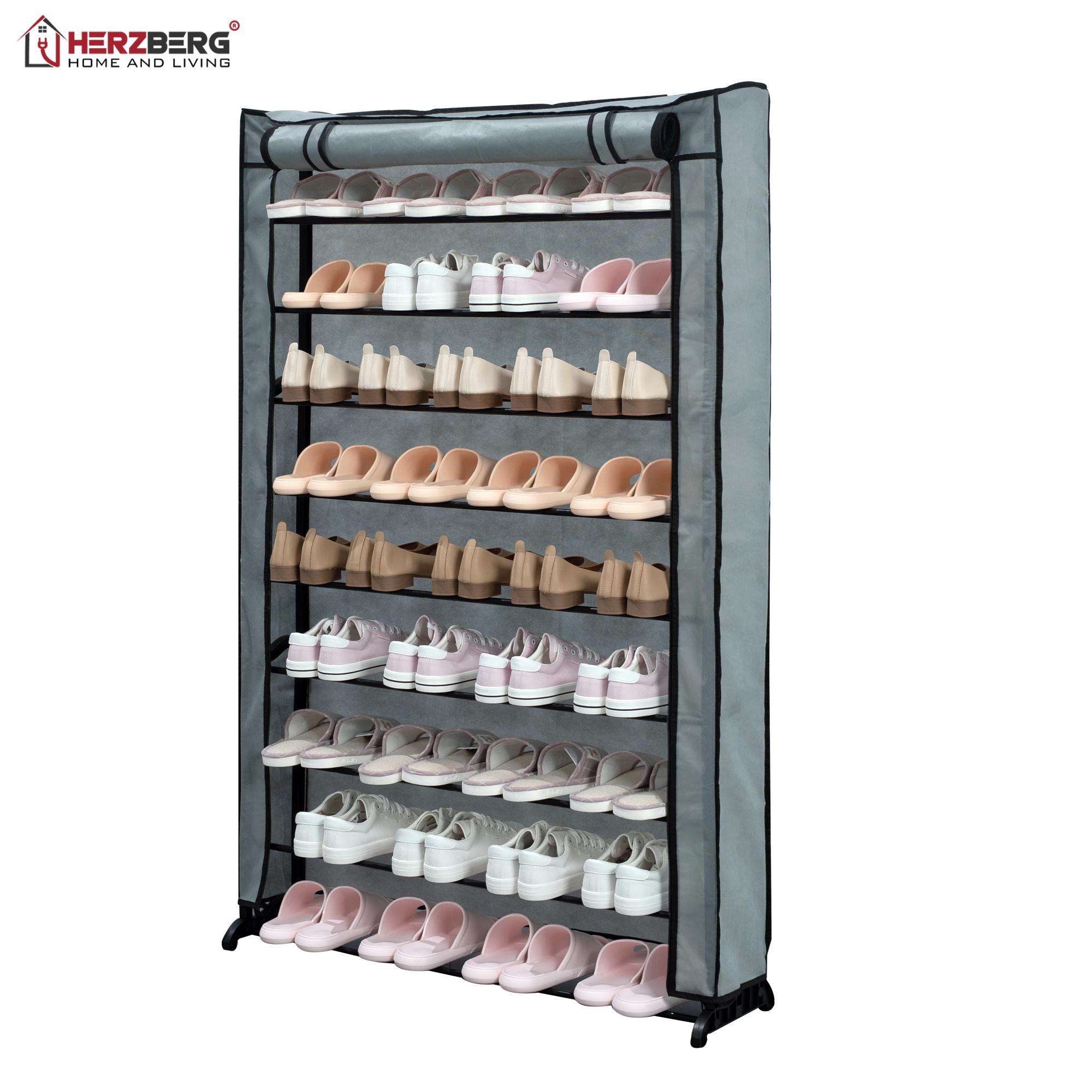 Herzberg HG-8077: Organisateur de Porte-Chaussures à 9 Niveaux Gris