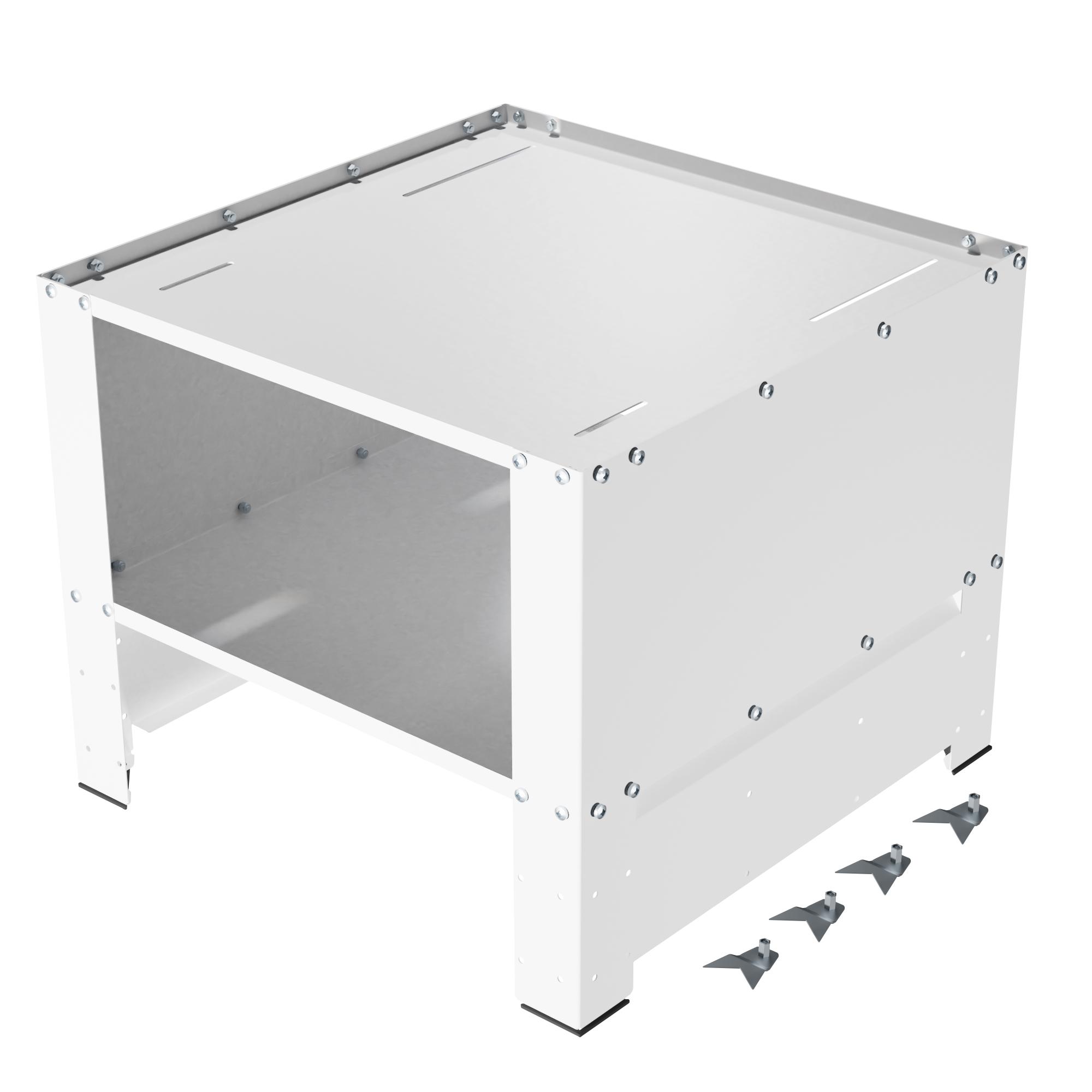 Herzberg HG-WP2 : Socle universel pour lave-linge avec compartiment de rangement Blanc