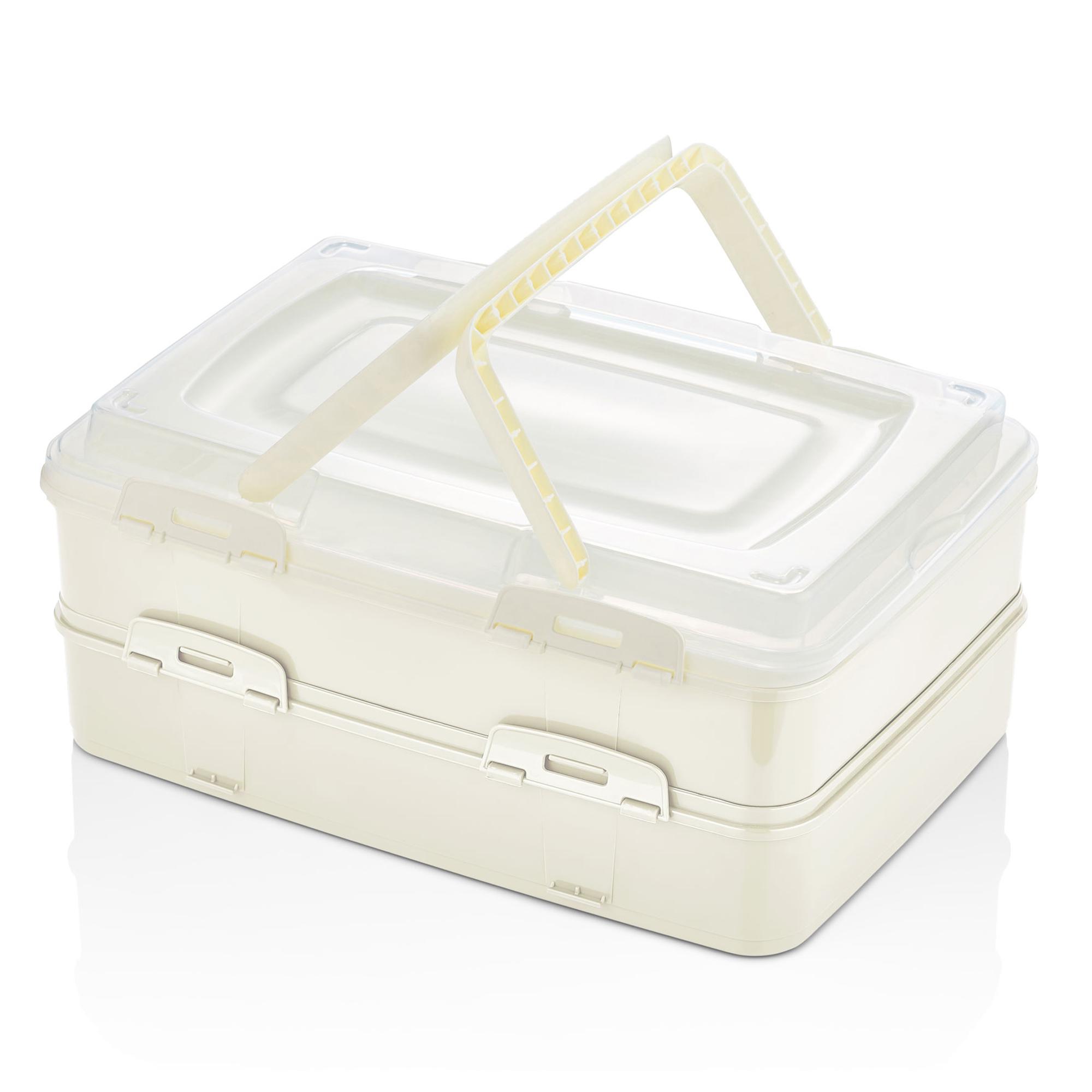 Herzberg HG-L718 : Boîte de transport de pâtisseries à emporter en duplex Ivoire