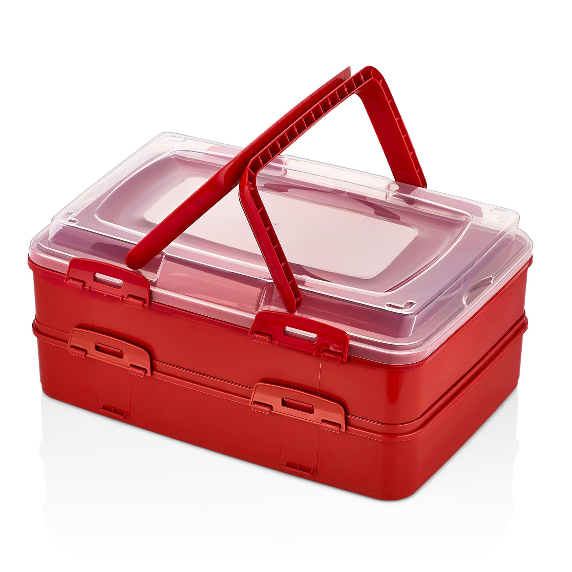 Herzberg HG-L718 : Boîte de transport de pâtisseries à emporter en duplex Rouge