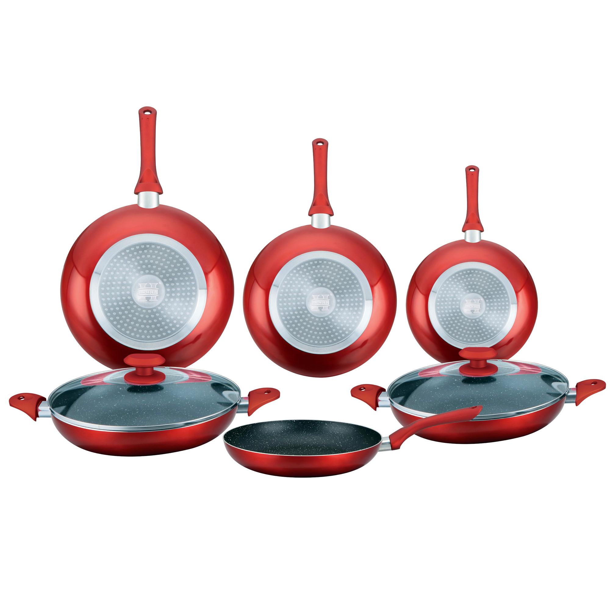 Herzberg HG-6010 : Batterie de cuisine enduite de marbre 8 pièces Rouge