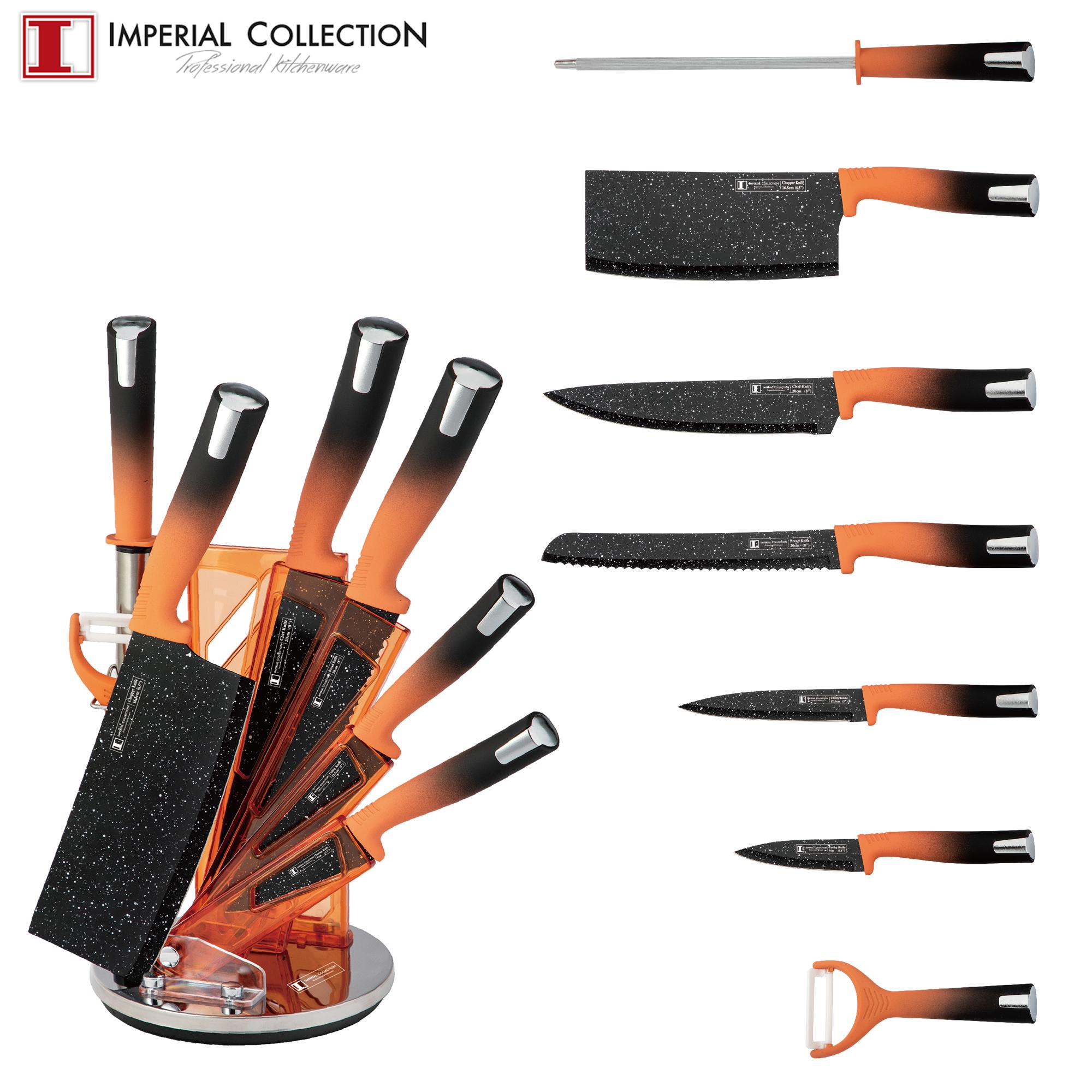 Imperial Collection IM-SL8: Ensemble de 8 Couteaux Avec Support Orange