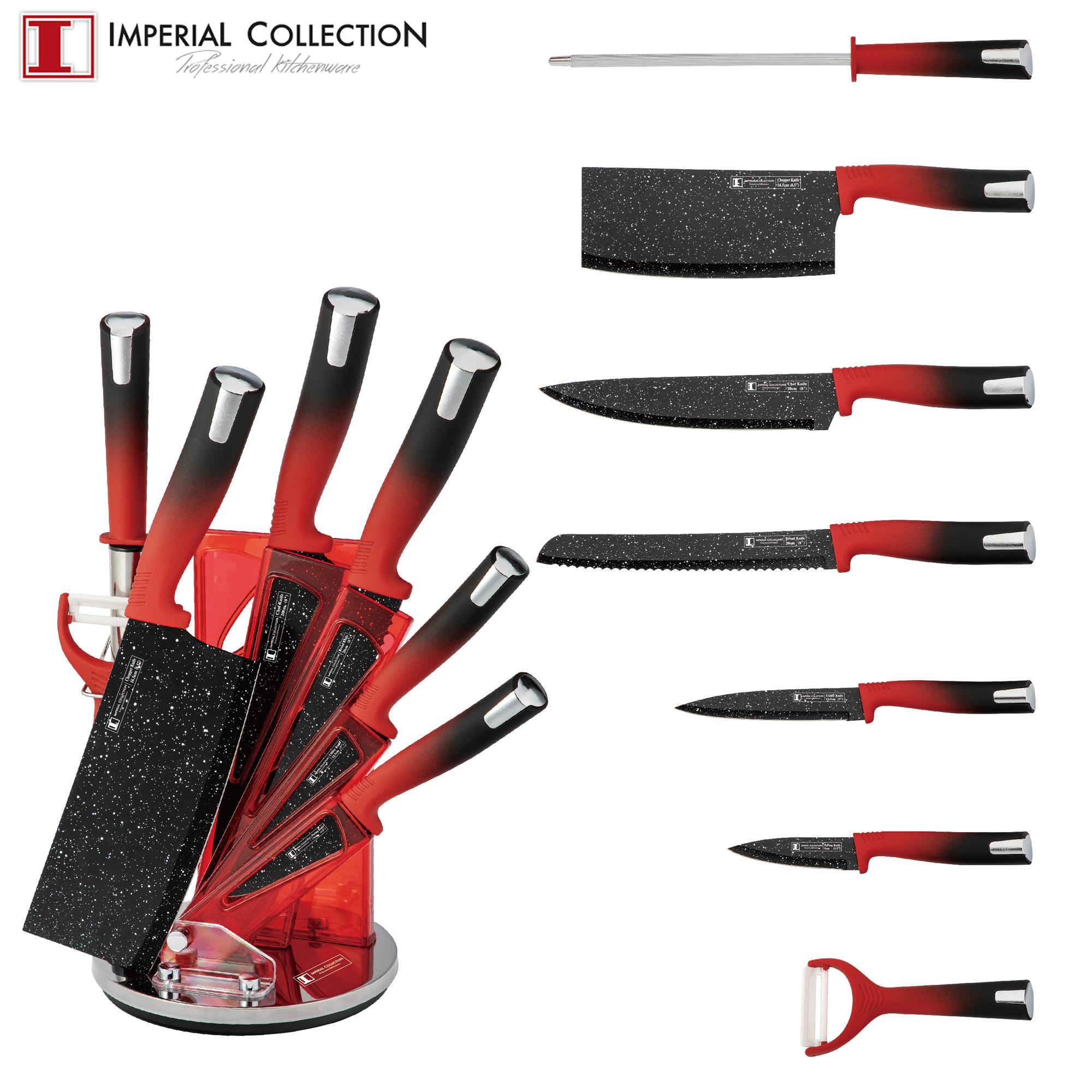 Imperial Collection IM-SL8: Ensemble de 8 Couteaux Avec Support Rouge