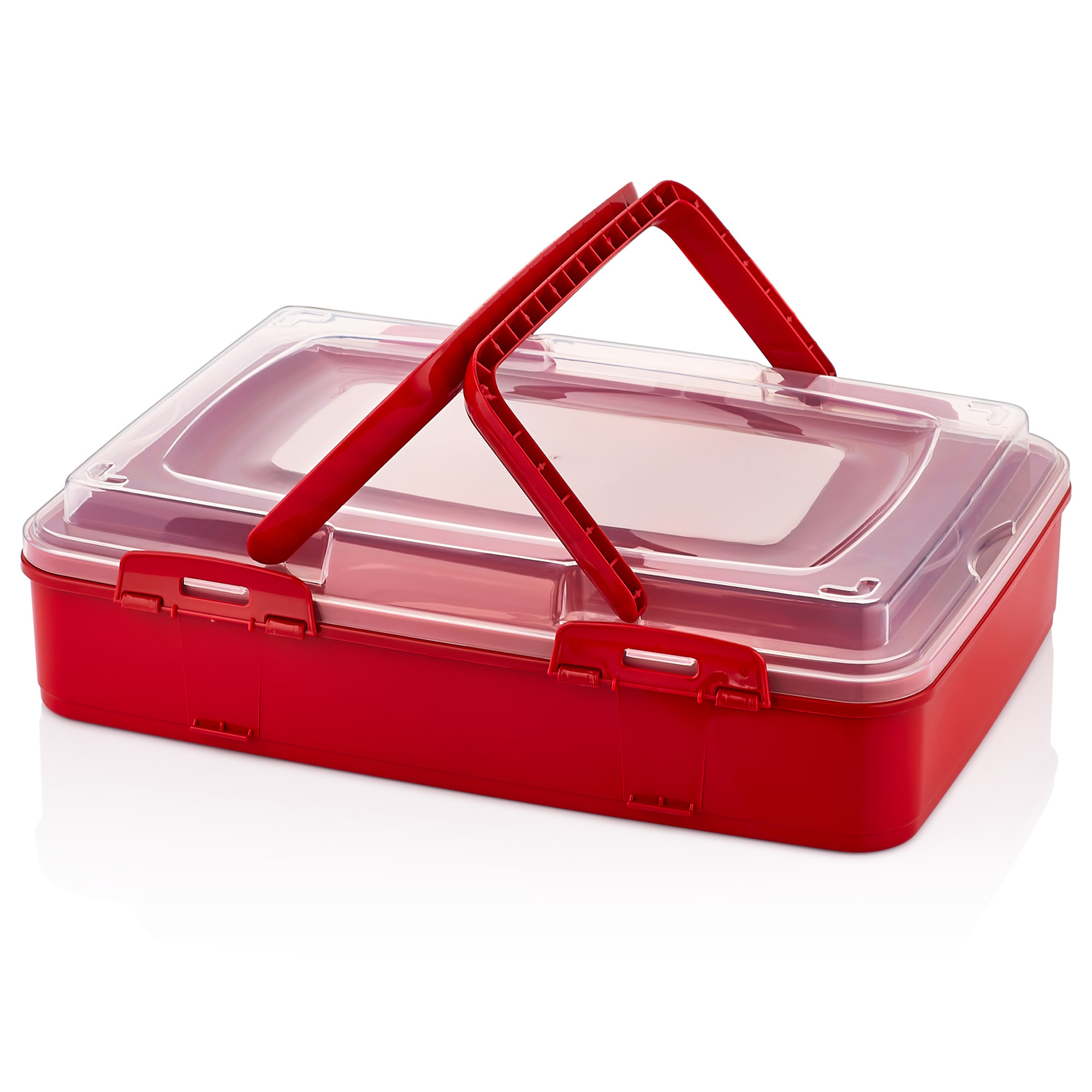 Herzberg HG-L719 : Boîte de transport de pâtisseries à emporter à un niveau Rouge